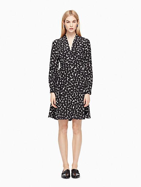 Kate Spade Blot Dot V-neck Dress, French Cream/Black - Size 0