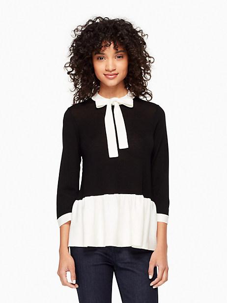 Kate Spade Flounce Sweater, Black/Cream - Size L