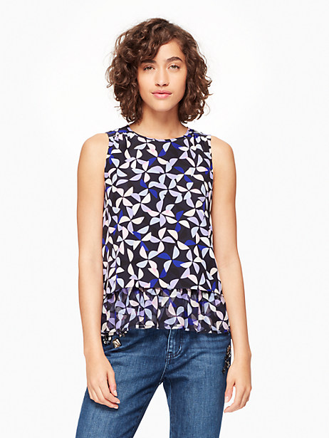 Kate Spade Spinner Double Layer Tank, Nightlife Blue - Size L