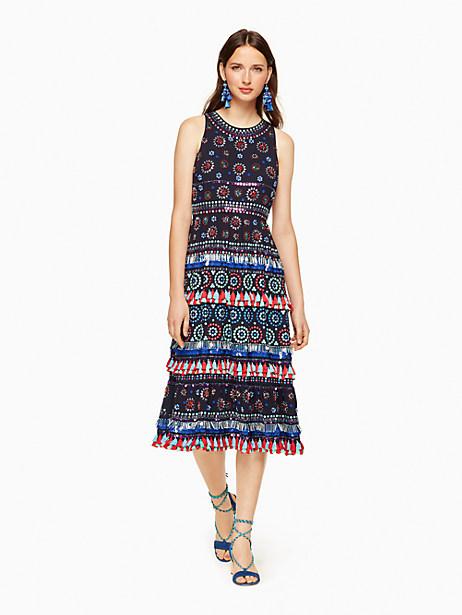 Kate Spade Embroidered Sequin Tassel Dress, Rich Navy - Size 0