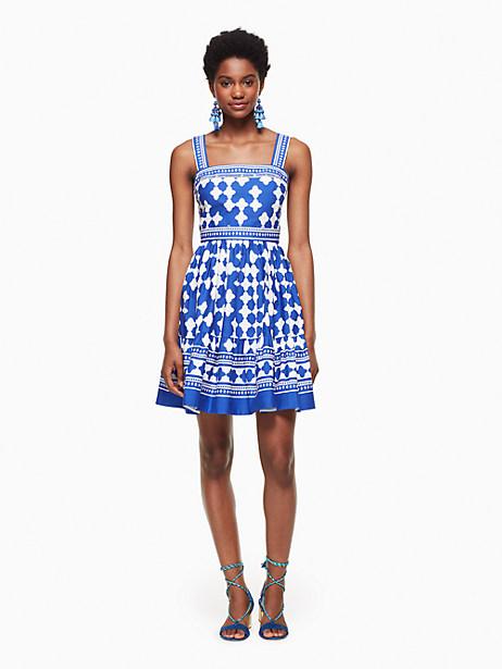 Kate Spade Lantern Poplin Flounce Dress, Cobalt Blue/Fresh White - Size 0
