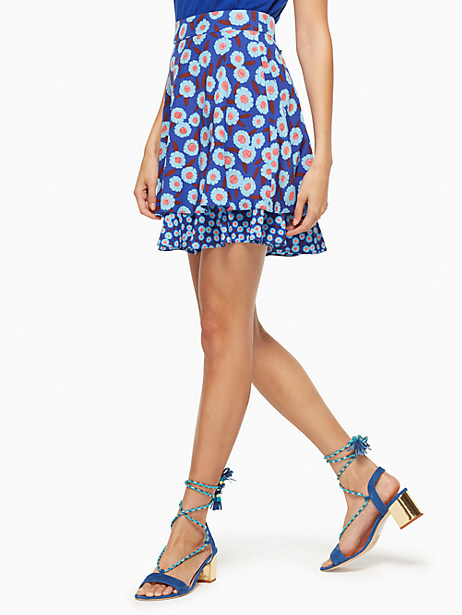 Kate Spade Tangier Floral Double Layer Skirt, Cobalt Blue - Size 6