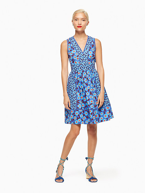Kate Spade Tangier Floral Fit And Flare Dress, Cobalt Blue - Size 0