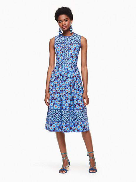 Kate Spade Tangier Floral Midi Dress, Cobalt Blue - Size 0