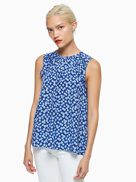 Kate Spade Tangier Floral Silk Ruffle Top, Cobalt Blue - Size L