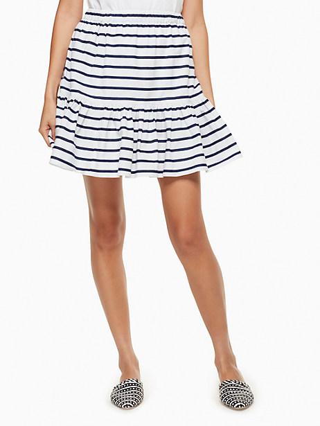 Kate Spade Stripe Cotton Flounce Skirt, Fresh White/Rich Navy - Size L
