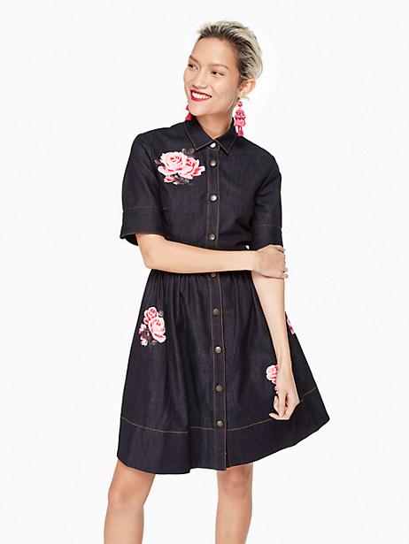 Kate Spade Rose Denim Shirtdress, Indigo - Size 0