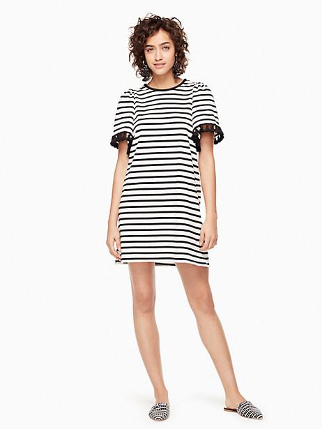 Kate Spade Stripe Flutter Sleeve Dress, Off-White/Black - Size L