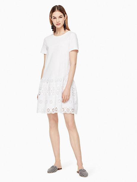 Kate Spade Eyelet Flounce Knit Dress, Fresh White - Size L