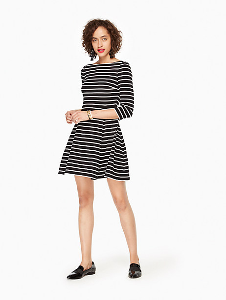 Kate Spade Stripe Essential Dress, Black/Off-White - Size L