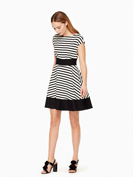 Kate Spade Ponte Stripe Fiorella Dress, Off-White/Black - Size L
