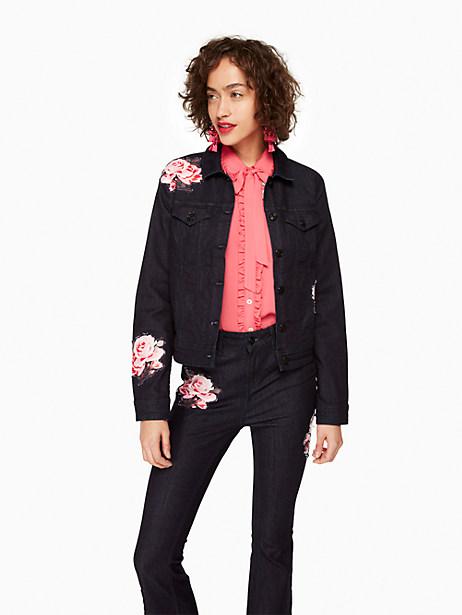 Rose Denim Jacket, Dark Rinse - Size L