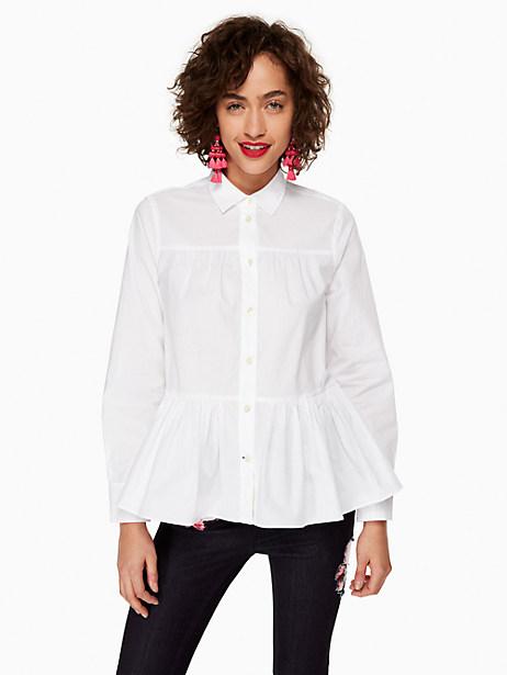 Kate Spade Poplin Swing Shirt, Fresh White - Size L