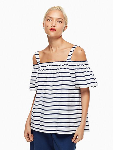 Kate Spade Stripe Cotton Cold Shoulder Top, Fresh White/Rich Navy - Size L
