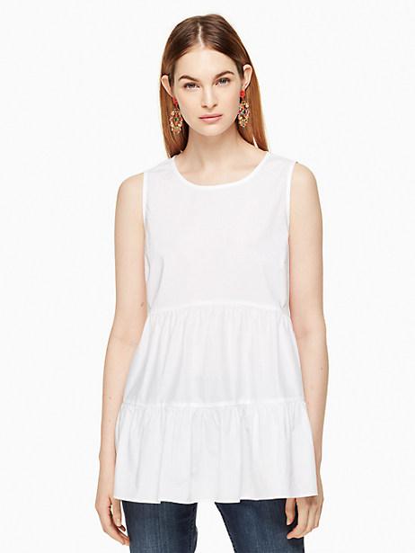 Kate Spade Poplin Sleeveless Top, Fresh White - Size L