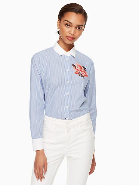 Kate Spade Tromp L'oeil Rose Shirt, Fresh White/Sound Blue - Size L