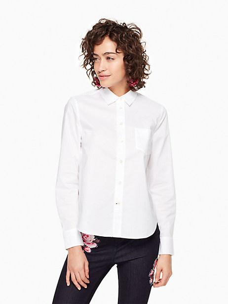 Kate Spade Delicate Poplin Shirt, Fresh White - Size L