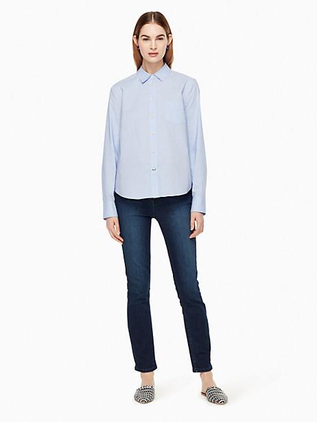 Kate Spade Delicate Poplin Shirt, Classic Mens Blue - Size L