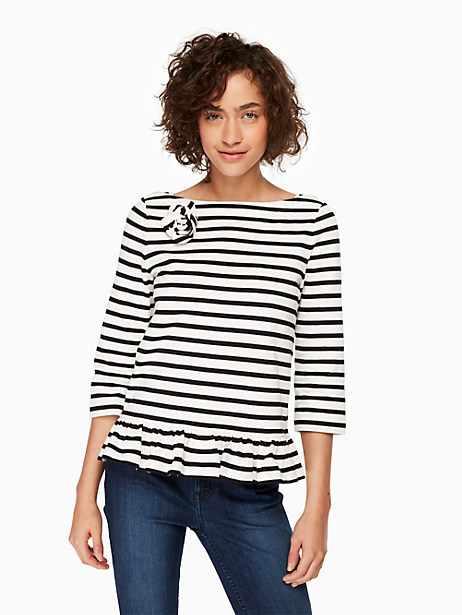Kate Spade 3/4 Sleeve Corsage Tee, Off-White/Black - Size L