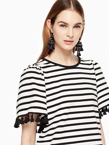 Kate Spade Stripe Flutter Sleeve Top, Off-White/Black - Size L