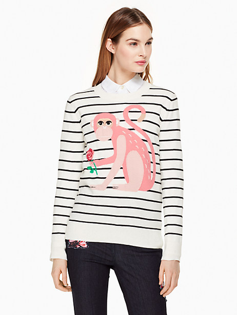 Kate Spade Monkey Sweater, Cream - Size L