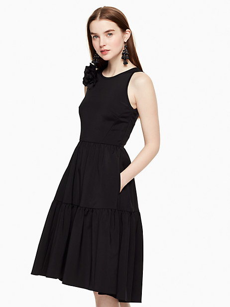 Kate Spade Corsage Fit And Flare Dress, Black - Size 0