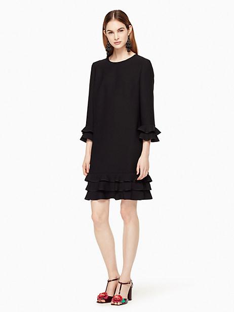 Kate Spade Crepe Ruffle Shift Dress, Black - Size L