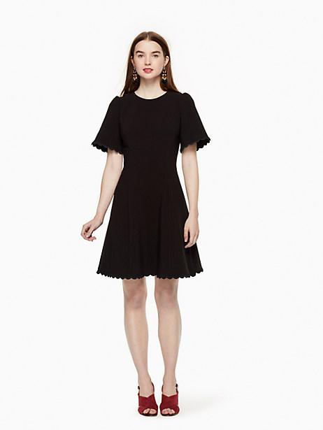 Kate Spade Scallop Crepe Swing Dress, Black - Size 0