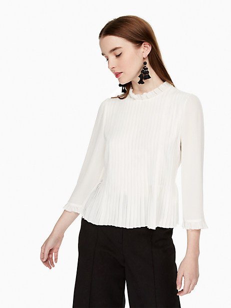 Kate Spade Pleated Georgette Top, Cream - Size 14