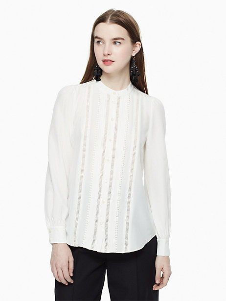 Kate Spade Pleated Silk Blouse, Cream - Size L
