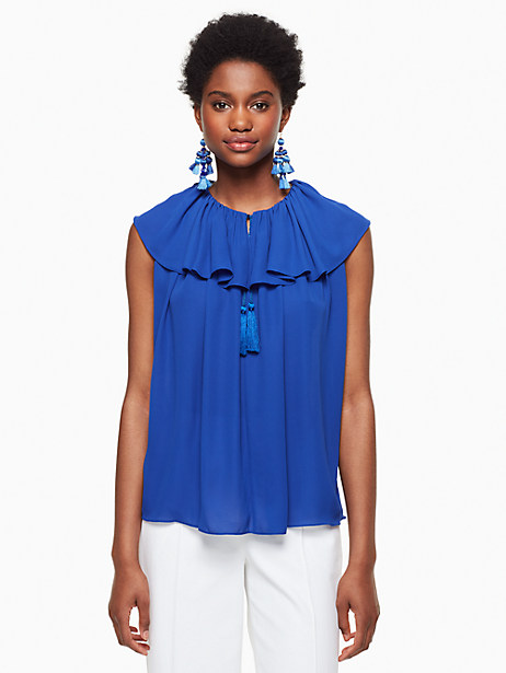 Kate Spade Tie Neck Silk Top, Cobalt Blue - Size L