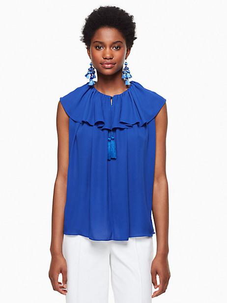 Kate Spade Tie Neck Silk Top, Cobalt Blue - Size L