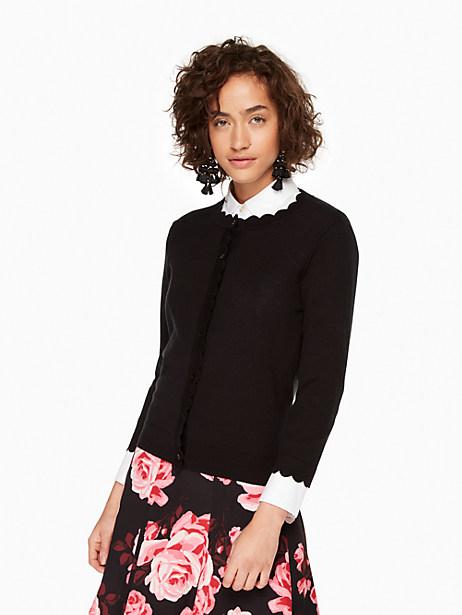 Kate Spade Scallop Cardigan, Black - Size L