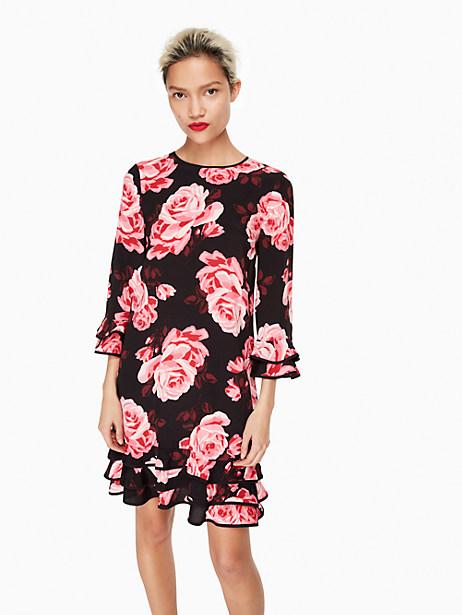 Kate Spade Rosa Ruffle Shift Dress, Black - Size XXS