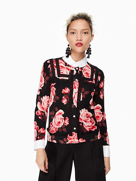 Kate Spade Rosa Lace Trim Cardigan, Black - Size L