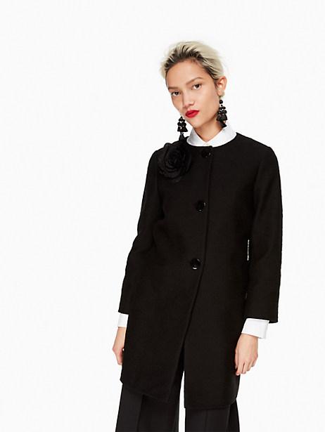 Kate Spade Tweed Corsage Coat, Black - Size 0