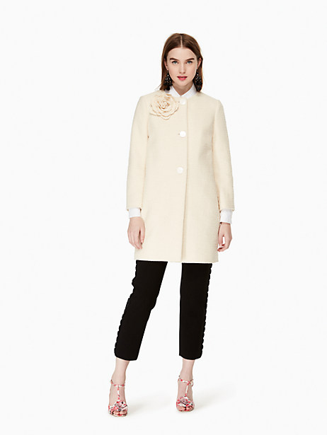 Kate Spade Tweed Corsage Coat, Sand Dune - Size 10