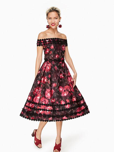 Kate Spade Atlas Rose Kay Dress, Black - Size 0