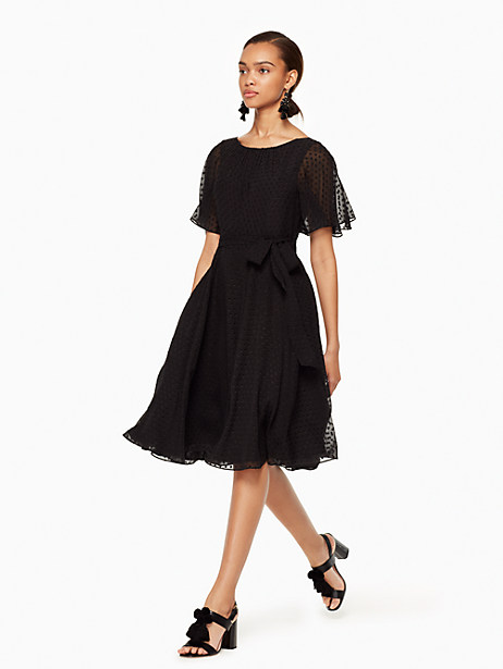 Kate Spade Clipped Chiffon Dress, Black - Size 0