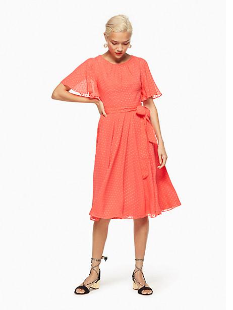 Kate Spade Clipped Chiffon Dress, Paprika - Size 0