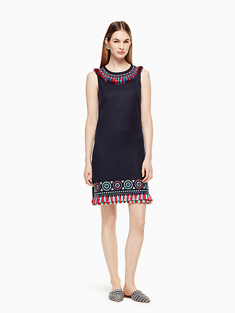 Kate Spade Embroidered Tassel Dress, Rich Navy - Size 0