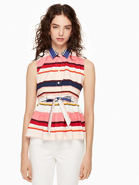 Kate Spade Berber Stripe Peplum Top, Size L