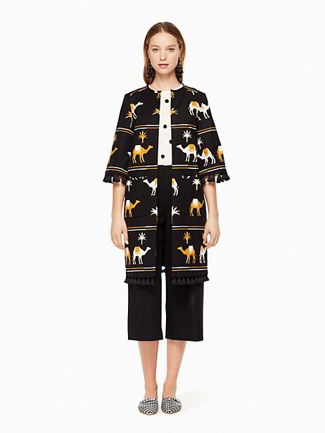 Kate Spade Embroidered Camel Coat, Black - Size 0