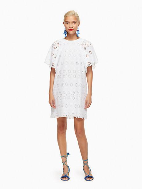 Kate Spade Eyelet Shift Dress, Fresh White - Size L