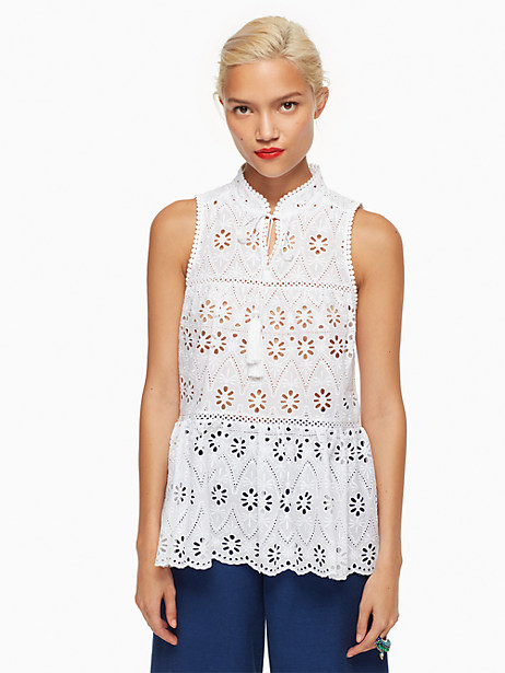 Kate Spade Eyelet Sleeveless Top, Fresh White - Size L