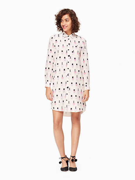 Kate Spade Nail Polish Shirtdress, Palest Rose - Size L