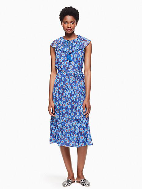 Kate Spade Tangier Floral Chiffon Dress, Cobalt Blue - Size L