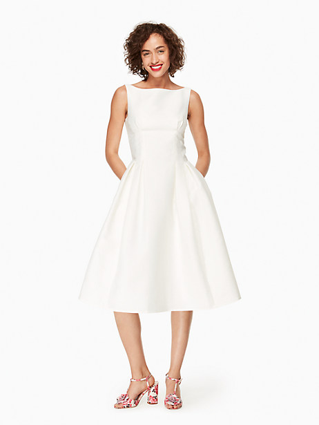 Kate Spade Structured Fit And Flare Dress, Cream - Size 0