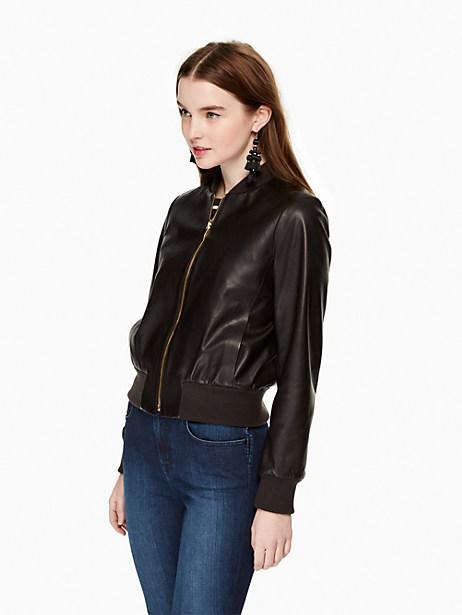 Leather Bomber Jacket, Black - Size L
