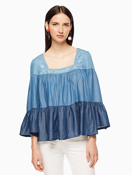 Kate Spade Chambray Embroidered Top, Indigo - Size S
